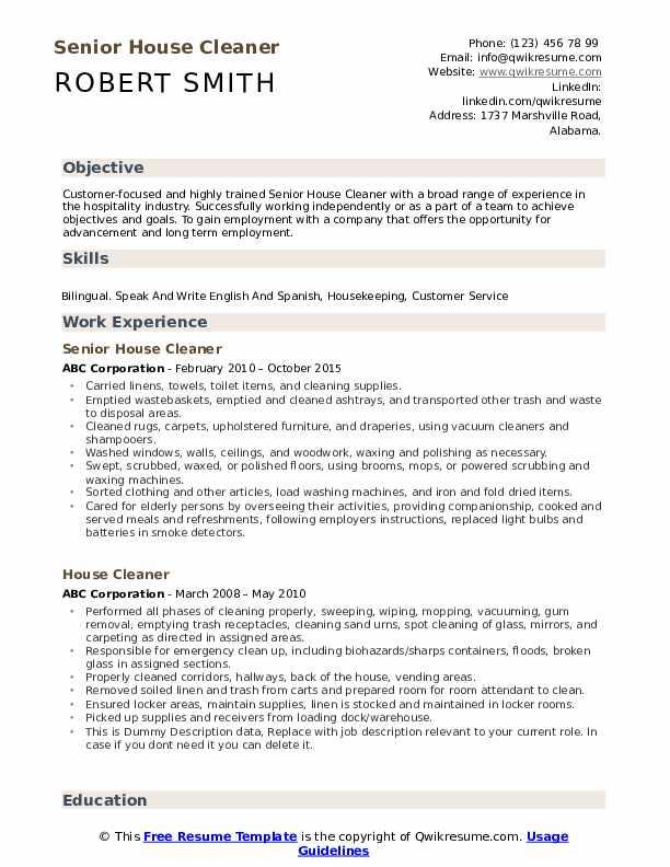 Senior House Cleaner Resume Format