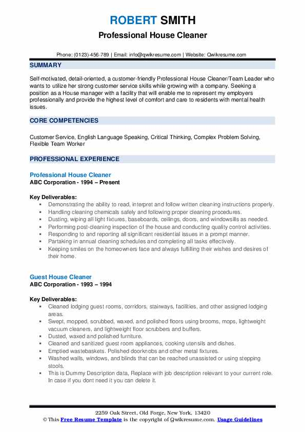 Professional House Cleaner Resume Example