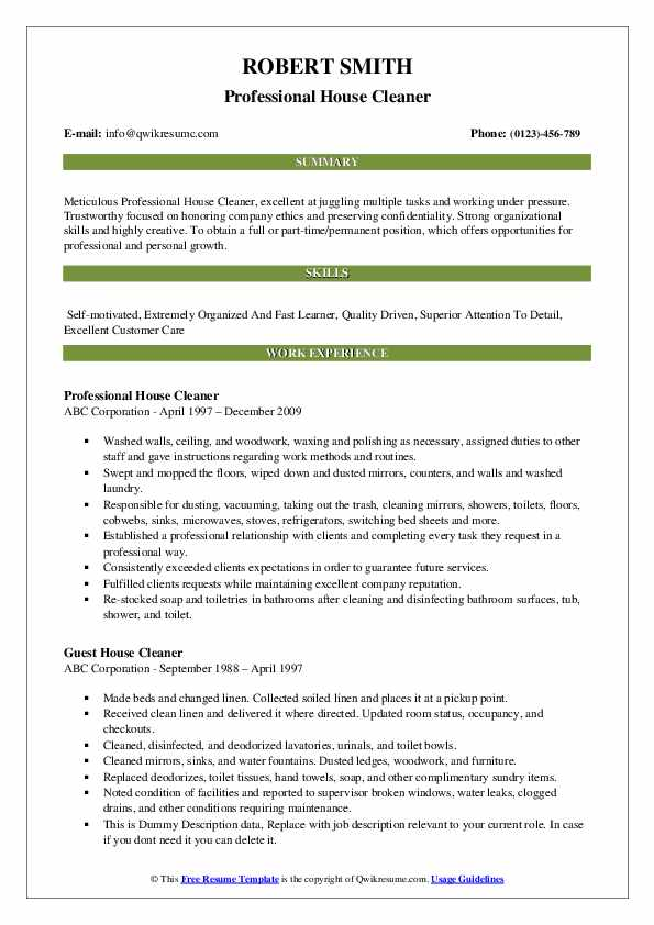 Professional House Cleaner Resume Template