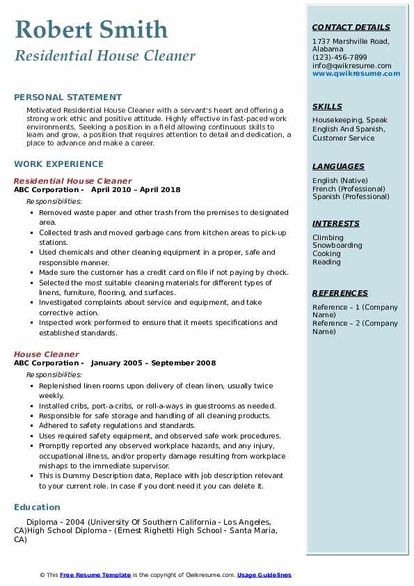 Residential House Cleaner Resume Format