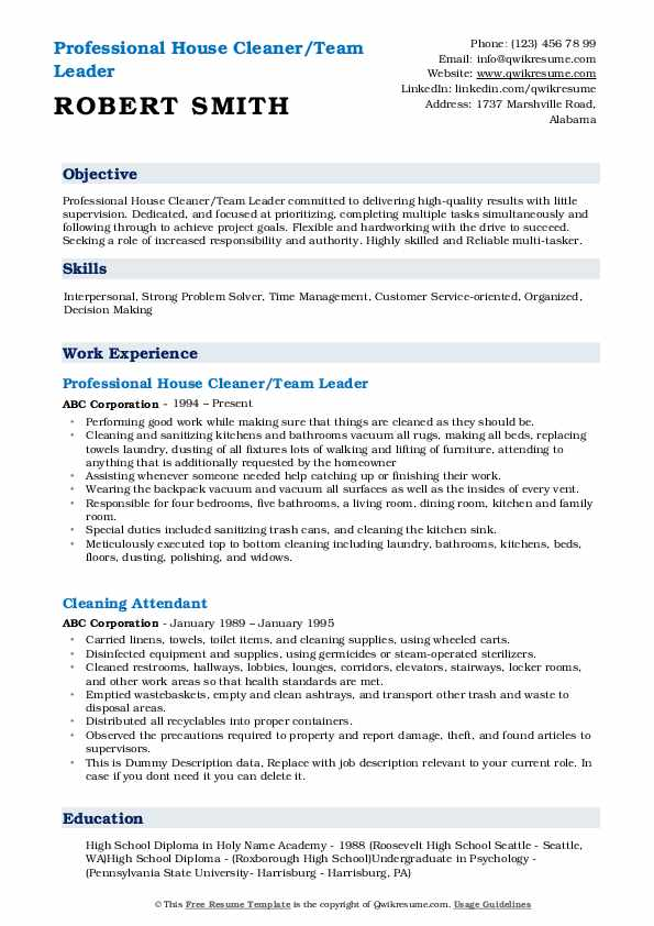 Professional House Cleaner/Team Leader Resume Example