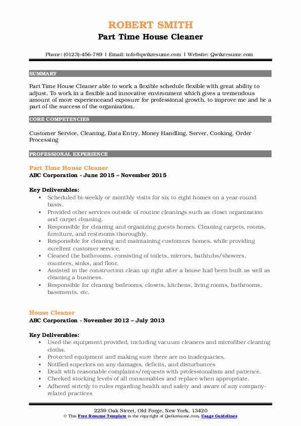 Part Time House Cleaner Resume Template