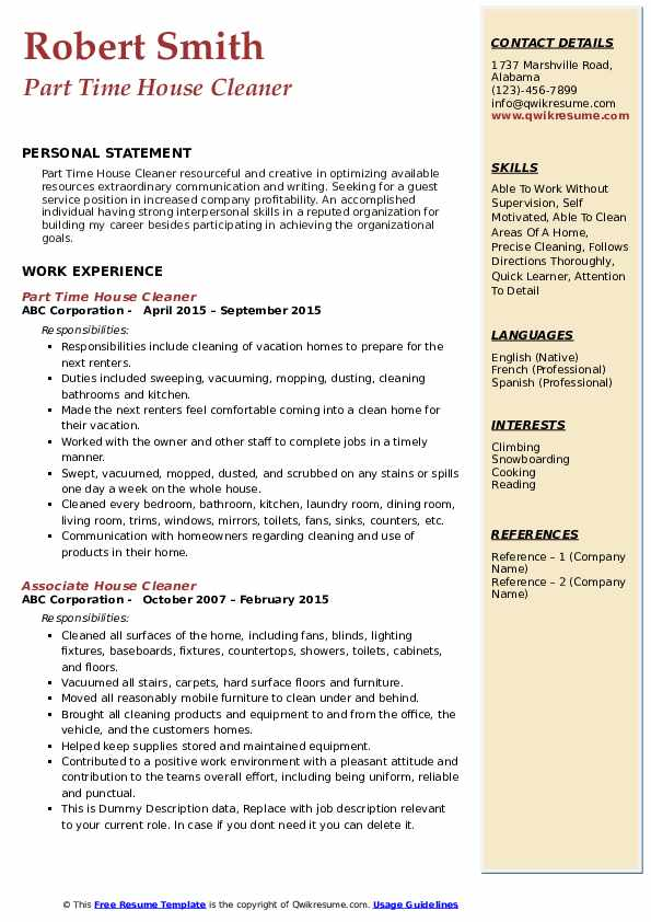 Part Time House Cleaner Resume Format