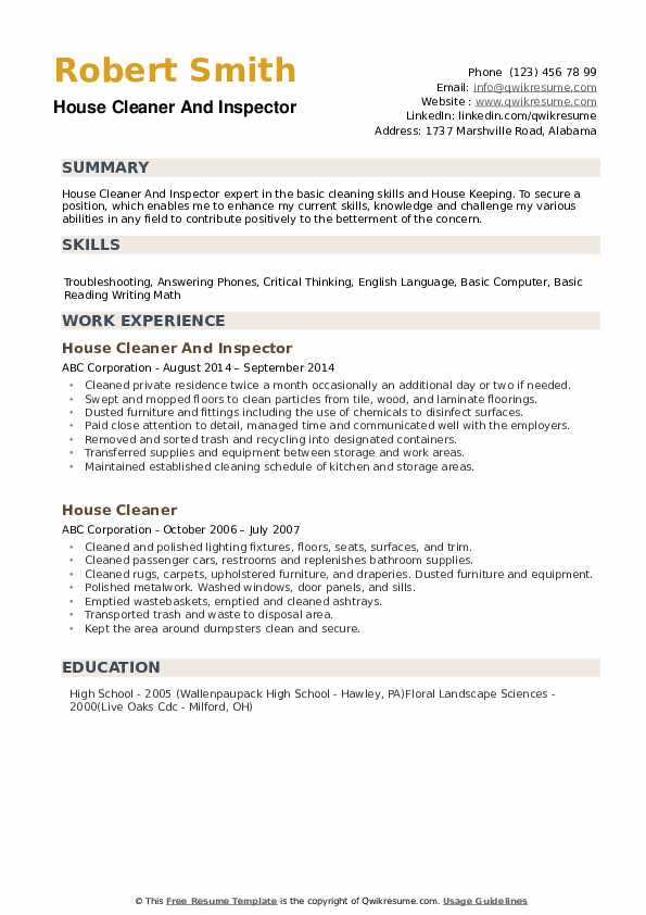 House Cleaner Resume example