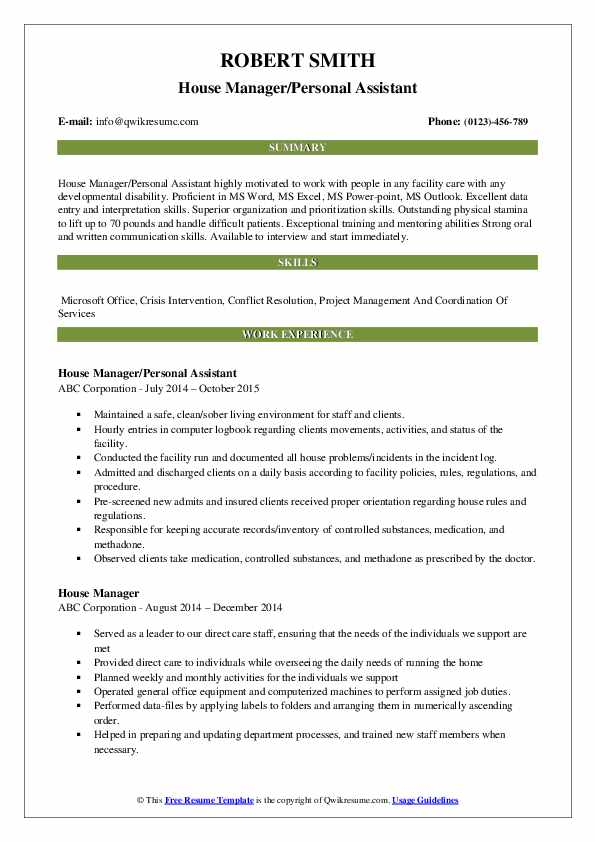 House Manager/Personal Assistant Resume Format