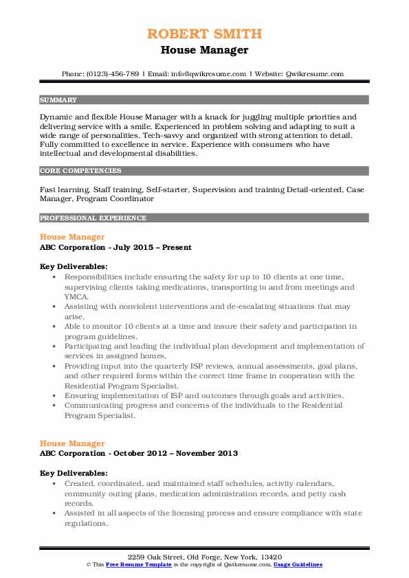House Manager Resume Sample