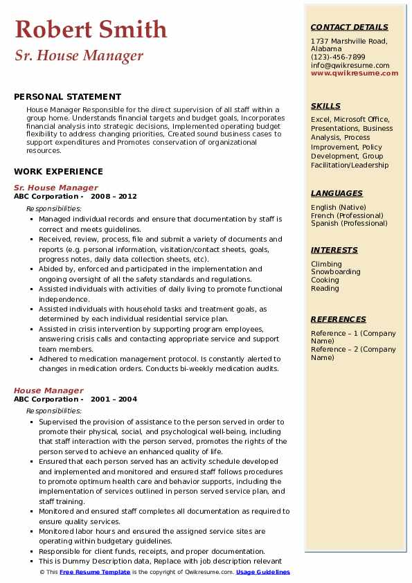 Sr. House Manager Resume Example
