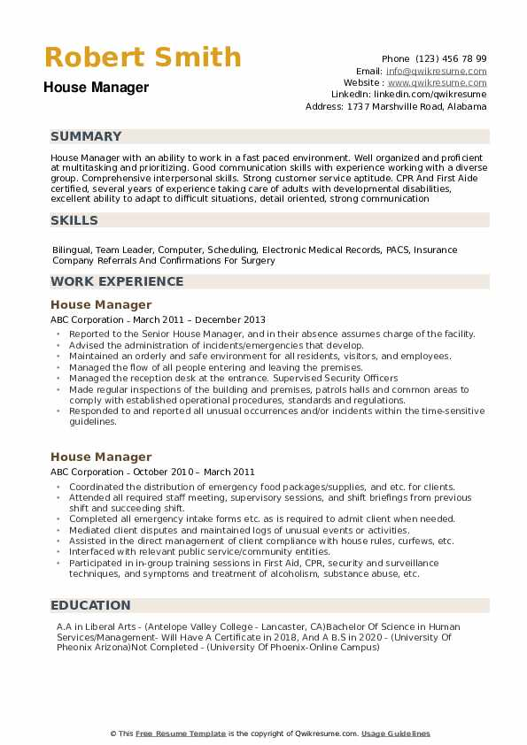 House Manager Resume example