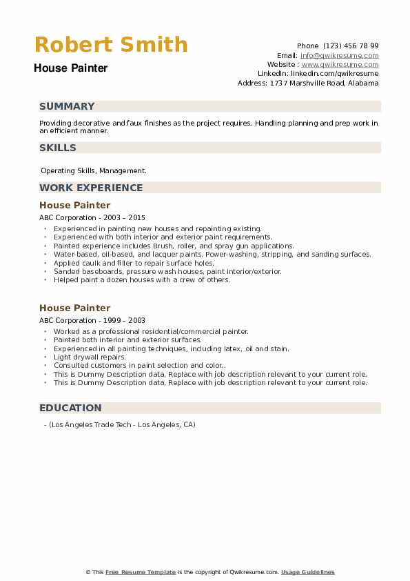 House Painter Resume example