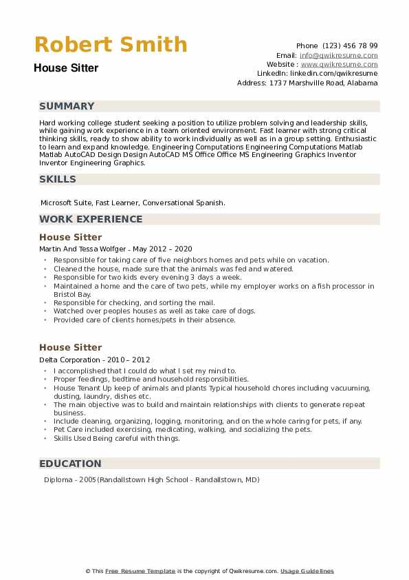 House Sitter Resume example