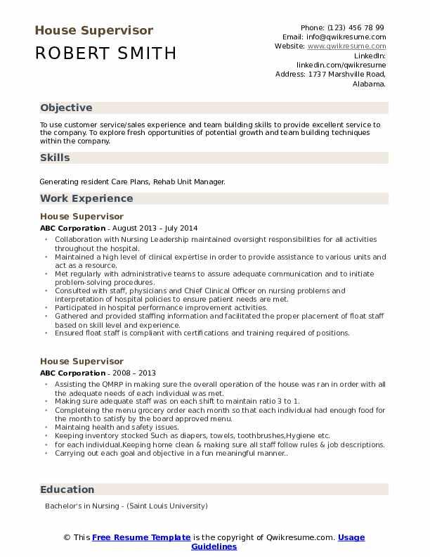 House Supervisor Resume Format