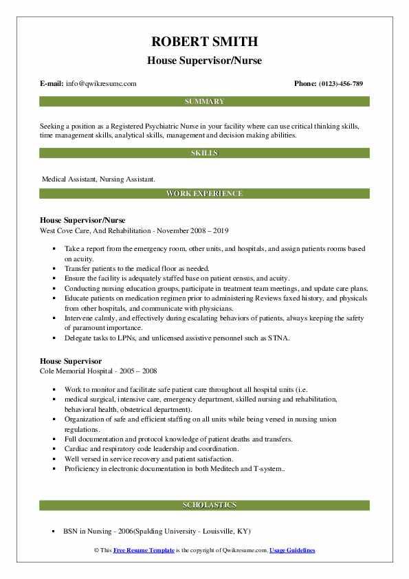 House Supervisor/Nurse Resume Format