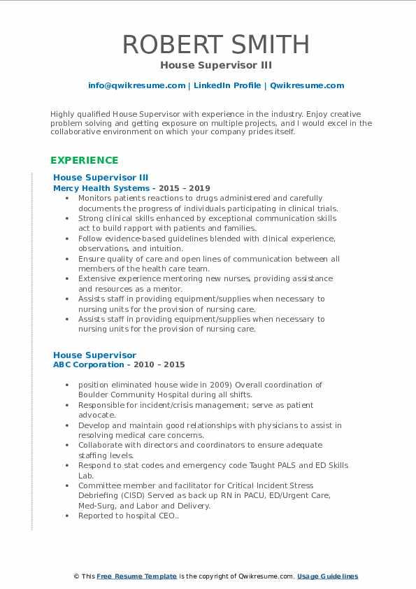 House Supervisor III Resume Format
