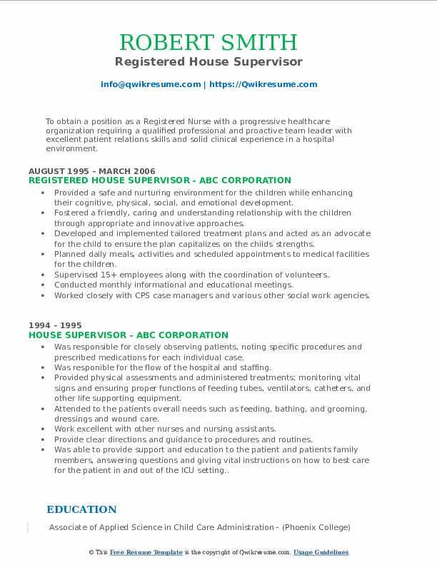 Registered House Supervisor Resume Model