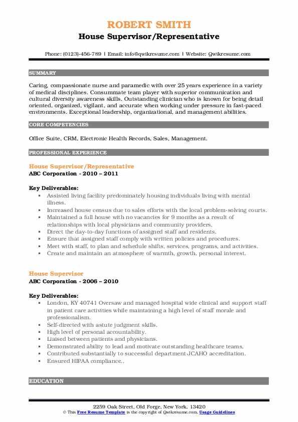 House Supervisor/Representative Resume Template