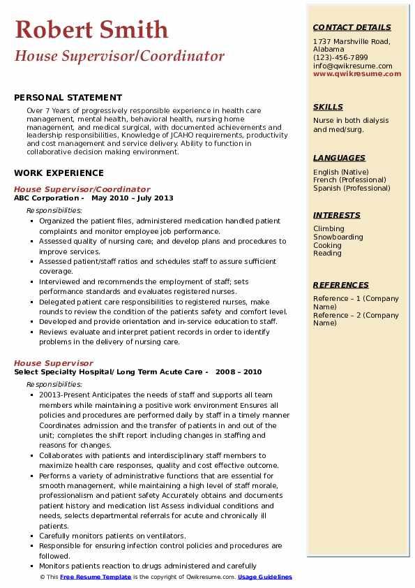 House Supervisor/Coordinator Resume Model