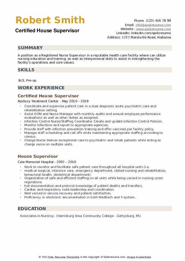Certified House Supervisor Resume Sample