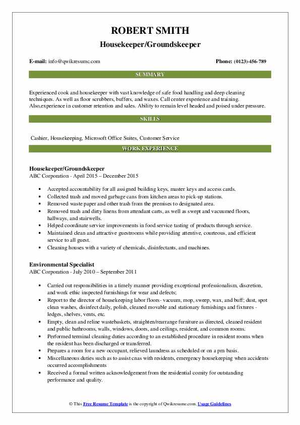 Housekeeper/Groundskeeper Resume Model