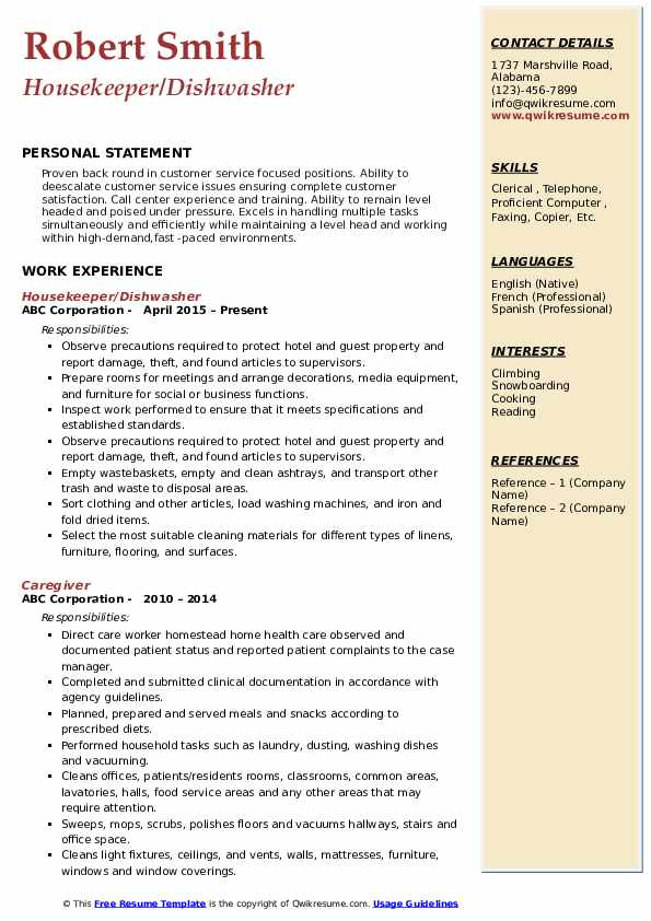 Housekeeper/Dishwasher Resume Format