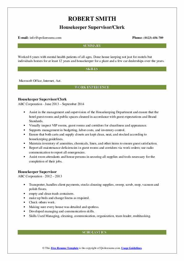 Housekeeper Supervisor/Clerk Resume Model