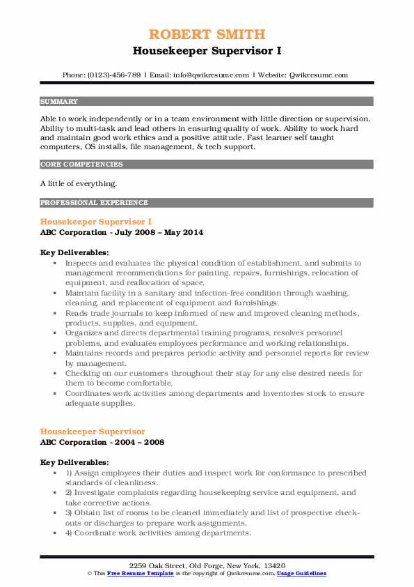 Housekeeper Supervisor I Resume Format