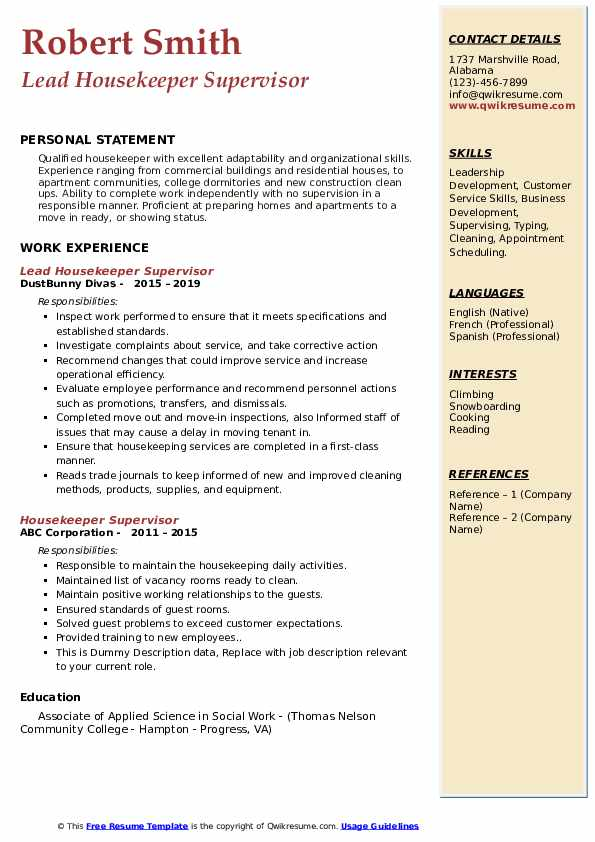 Lead Housekeeper Supervisor Resume Sample