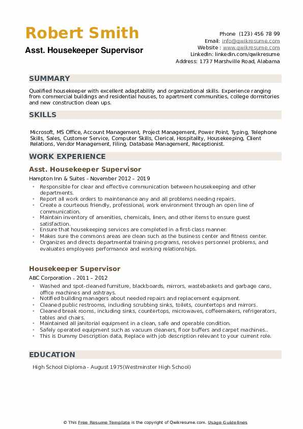 Asst. Housekeeper Supervisor Resume Sample