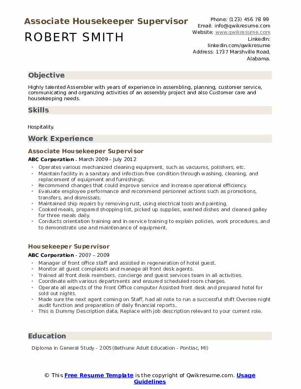Associate Housekeeper Supervisor Resume Format