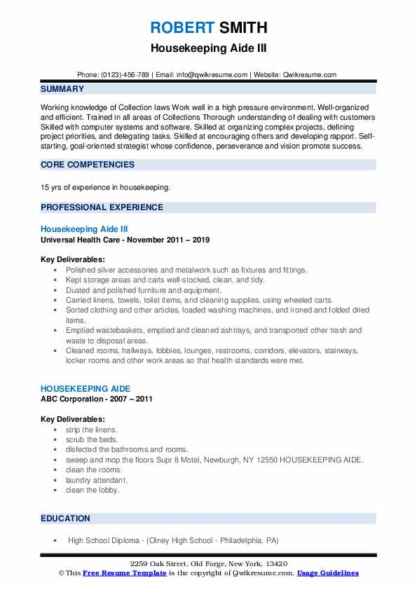 Housekeeping Aide III Resume Model