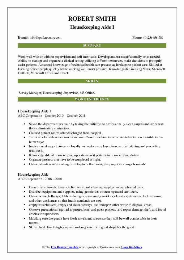 Housekeeping Aide I Resume Format