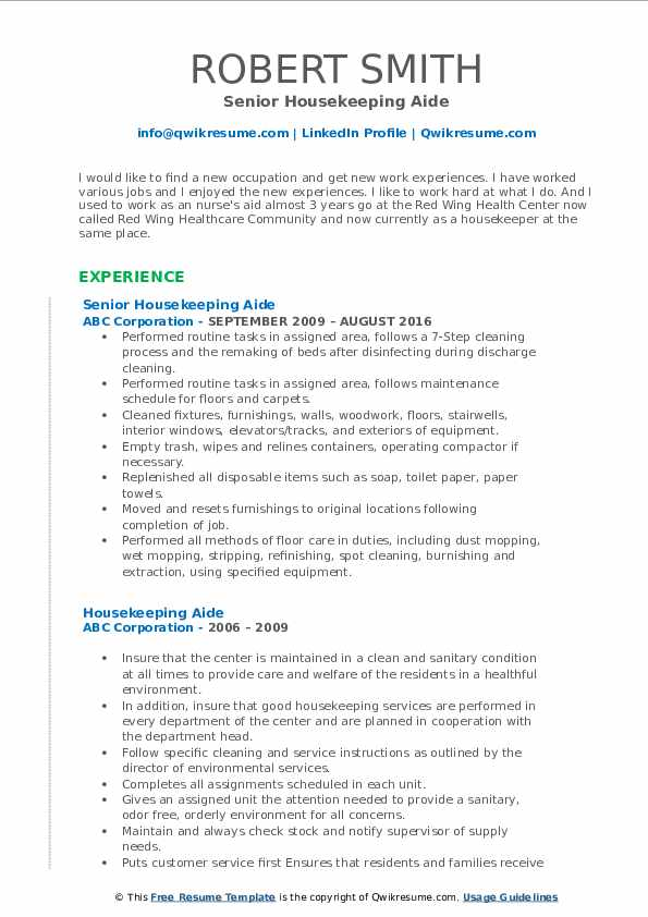 Senior Housekeeping Aide Resume Template