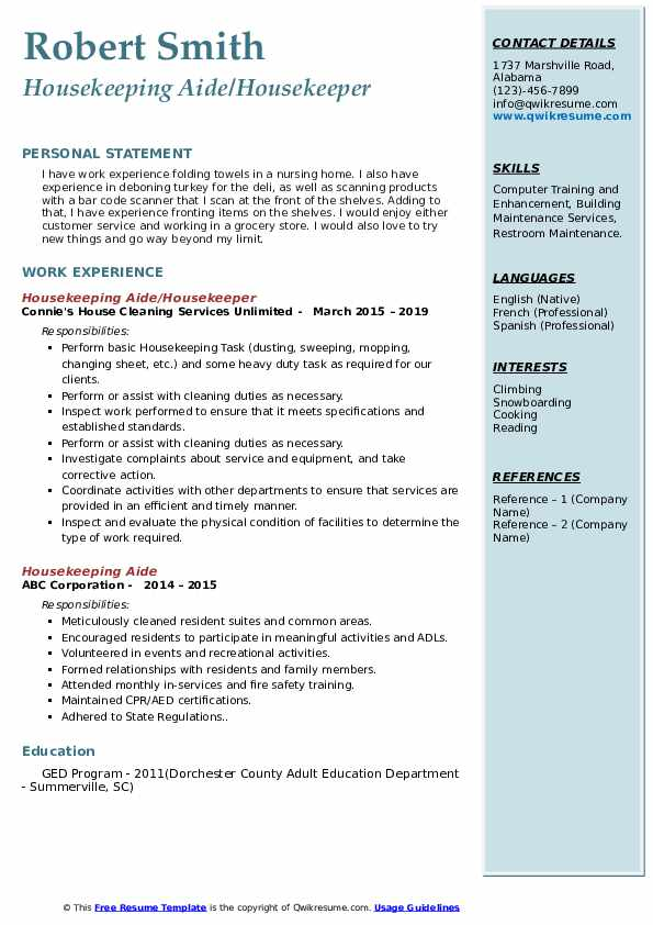 Housekeeping Aide/Housekeeper Resume Example