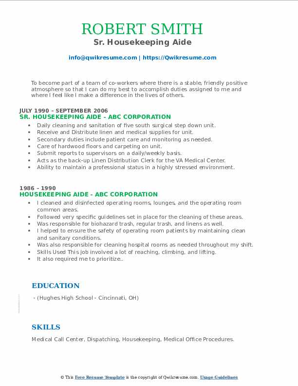 Sr. Housekeeping Aide Resume Template