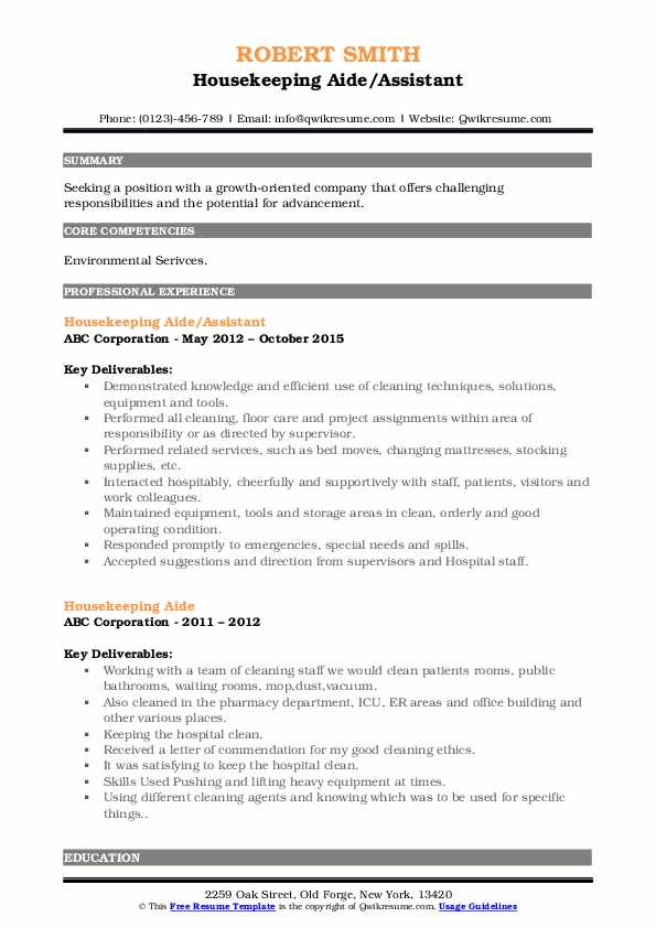 Housekeeping Aide/Assistant Resume Format