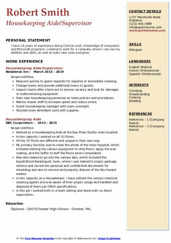 Housekeeping Aide/Supervisor Resume Template