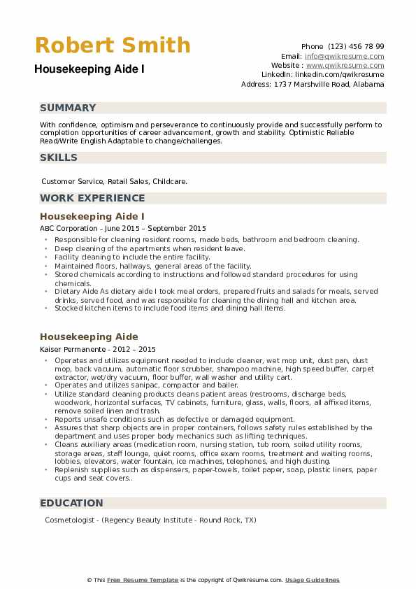 Housekeeping Aide I Resume Example