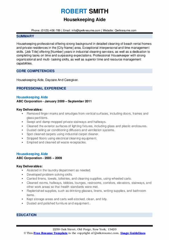 Housekeeping Aide Resume example