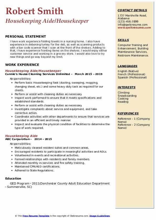 Housekeeping Cleaner/Supervisor Resume Example