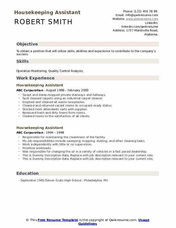 Housekeeping Assistant Resume example