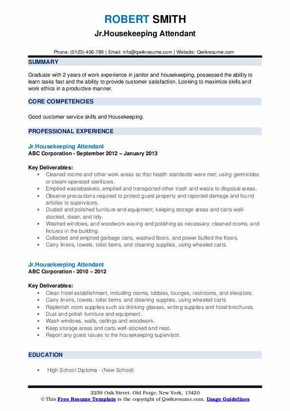 Jr.Housekeeping Attendant Resume Sample