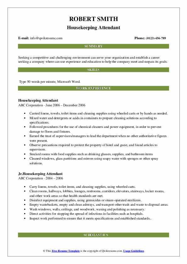 Housekeeping Attendant Resume Sample
