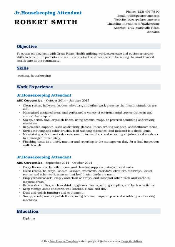 Jr.Housekeeping Attendant Resume Template