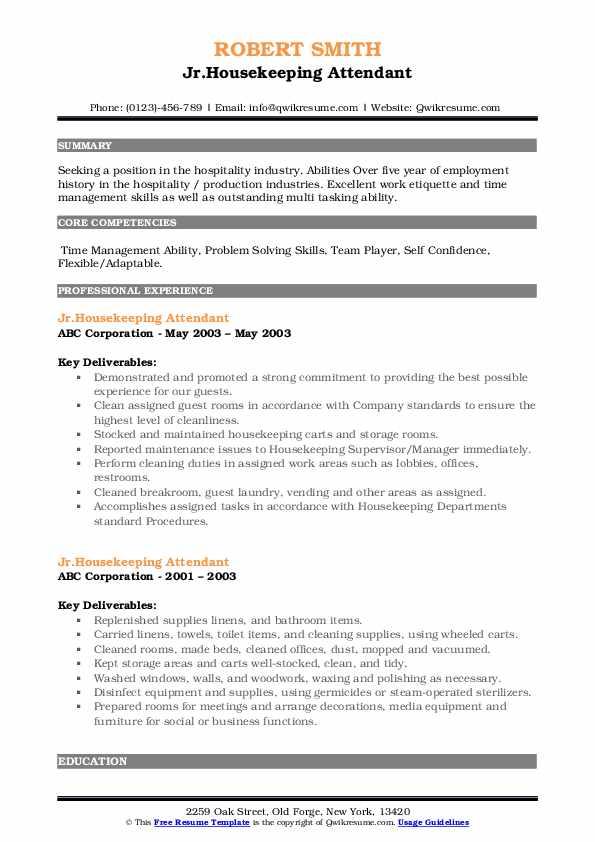 Jr.Housekeeping Attendant Resume Example