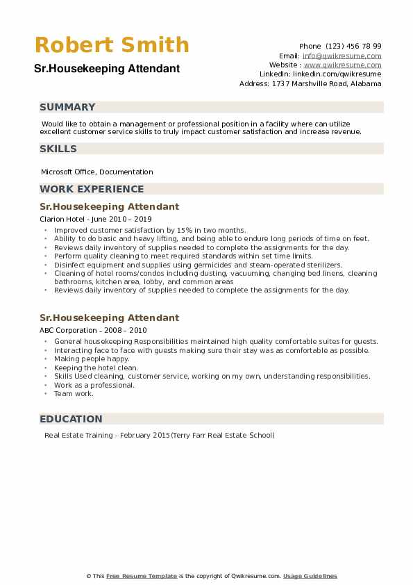 Sr.Housekeeping Attendant Resume Format