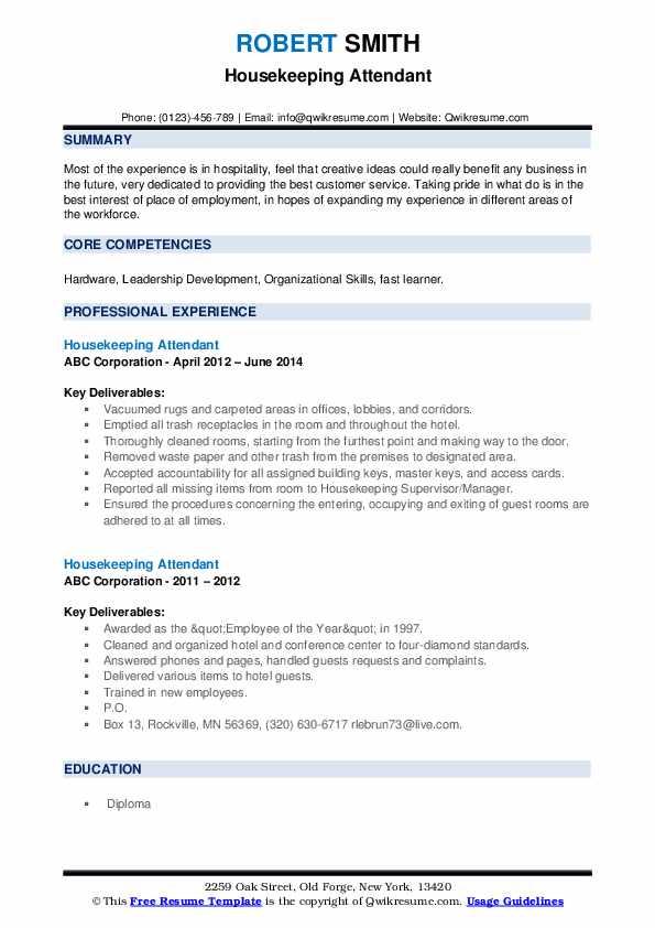 Housekeeping Attendant Resume example