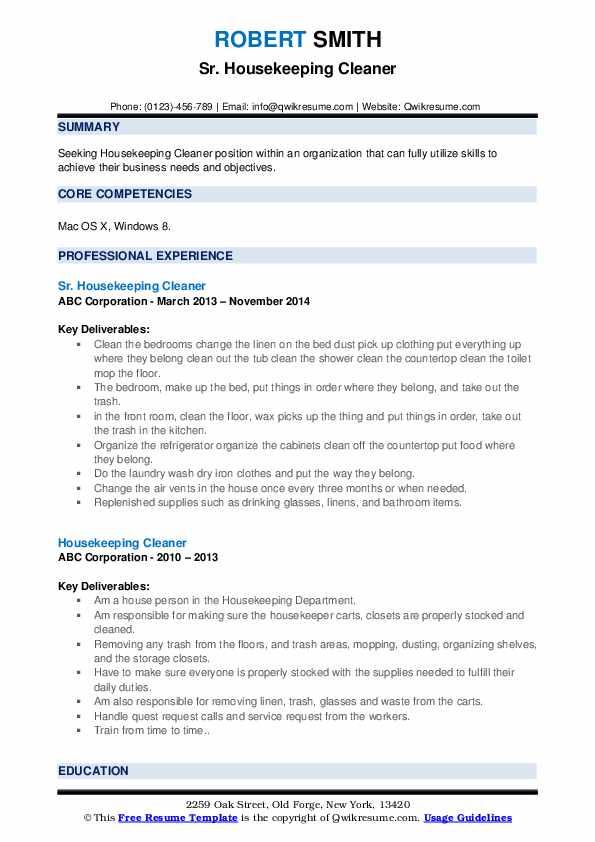 Sr. Housekeeping Cleaner Resume Format