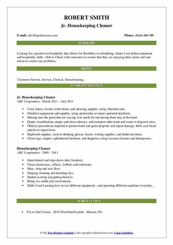 Jr. Housekeeping Cleaner Resume Format