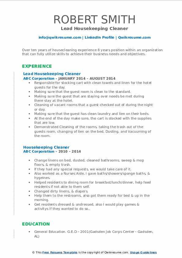 Lead Housekeeping Cleaner Resume Example