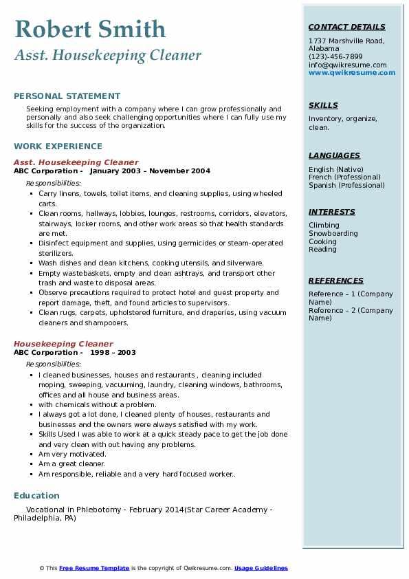 Asst. Housekeeping Cleaner Resume Template