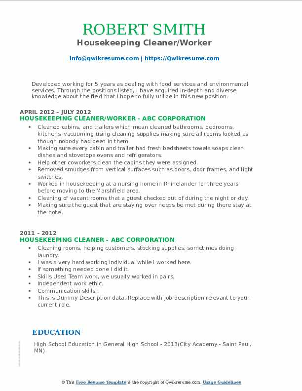 Housekeeping Cleaner/Worker Resume Template